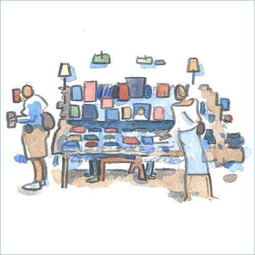 Bookstore watercolor