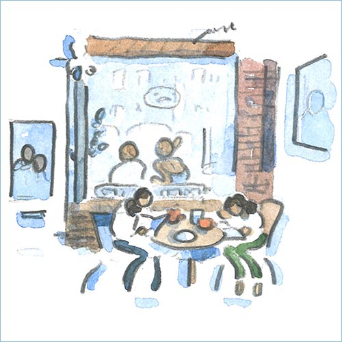 Cafe watercolor