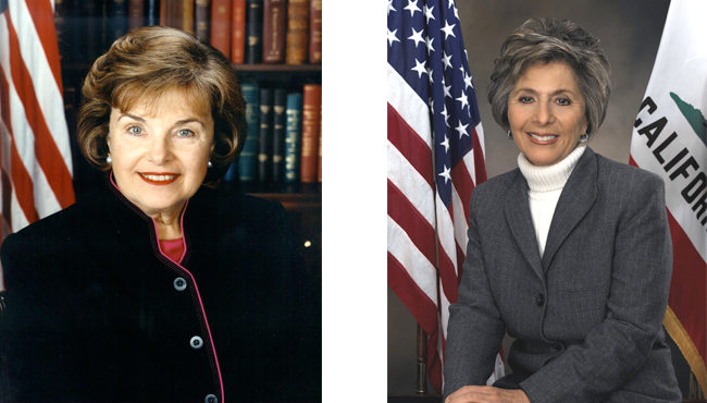 Diane Feinstein and Barbara Boxer