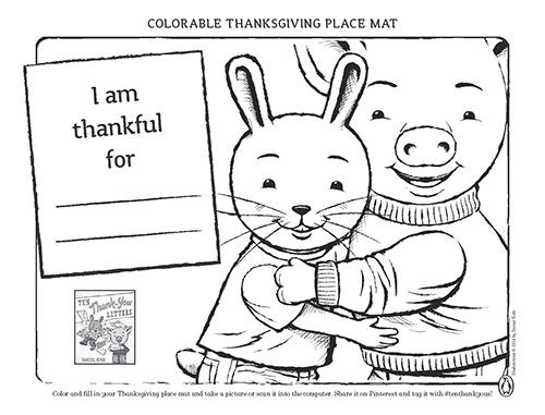Ten Thank-You Letters Colorable Thanksgiving Place Mat and Thank-You Cards