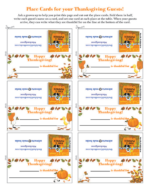 Duck & Goose Thanksgiving Place Cards