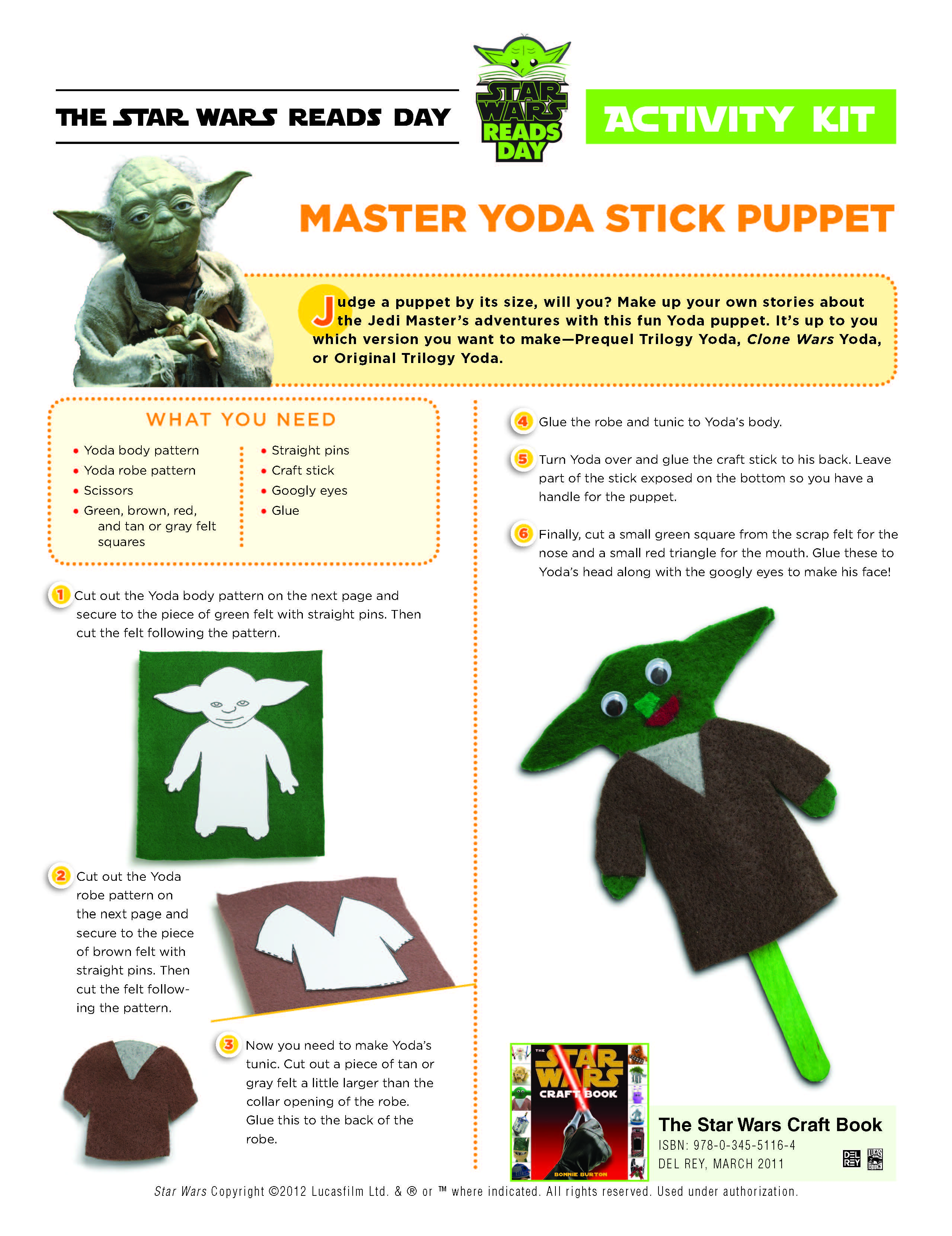 Master Yoda Puppet Stick Craft