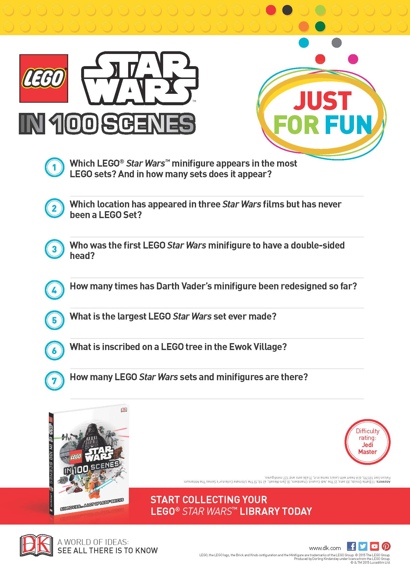 photograph relating to Fun Trivia Questions and Answers for Kids Printable titled Star Wars Printables and Pursuits Brightly