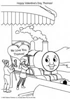 Thomas and Friends Valentine's Day Coloring Page