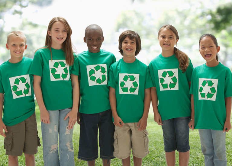 Kids with Recycling Shirts
