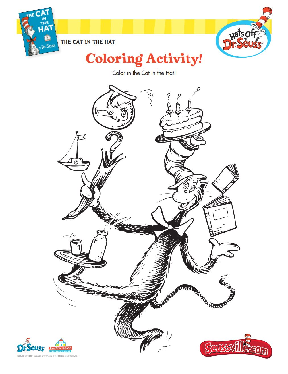 The Cat in the Hat Coloring Activity
