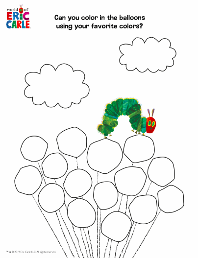 The Very Hungry Caterpillar Balloons Coloring Page
