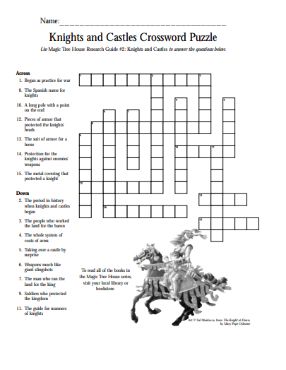 Knights and Castles Crossword Puzzle