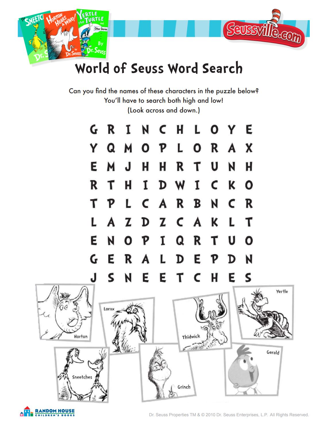 World of Seuss Word Search