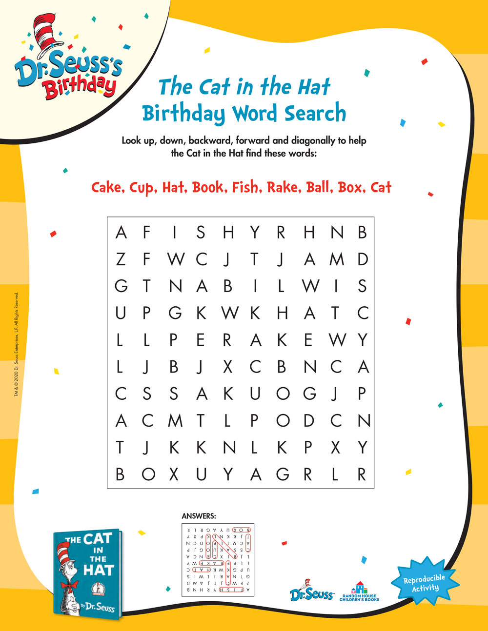 The Cat in the Hat Birthday Word Search