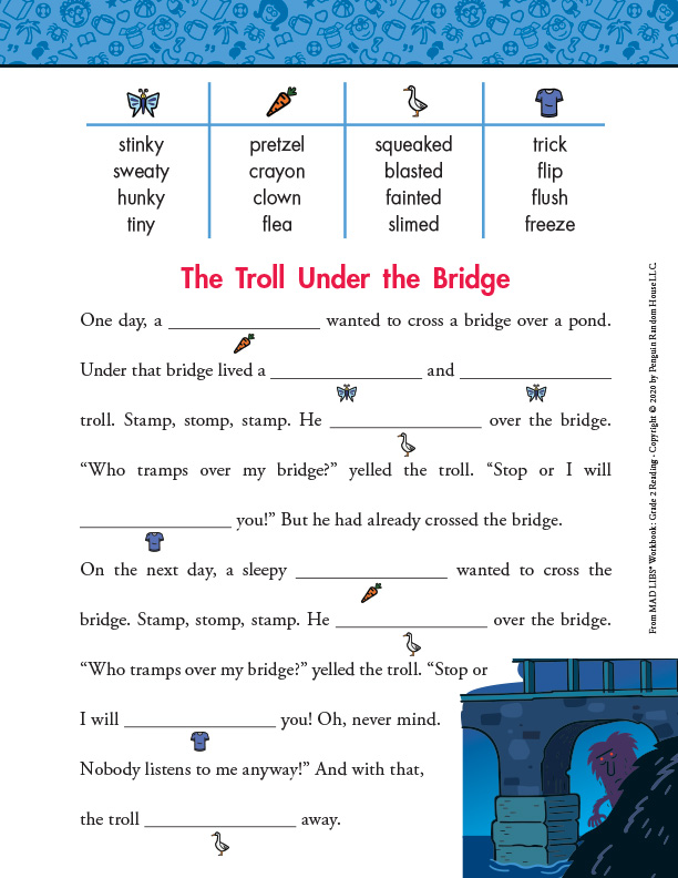 Mad Libs Workbook Grade 2: Troll Under the Bridge