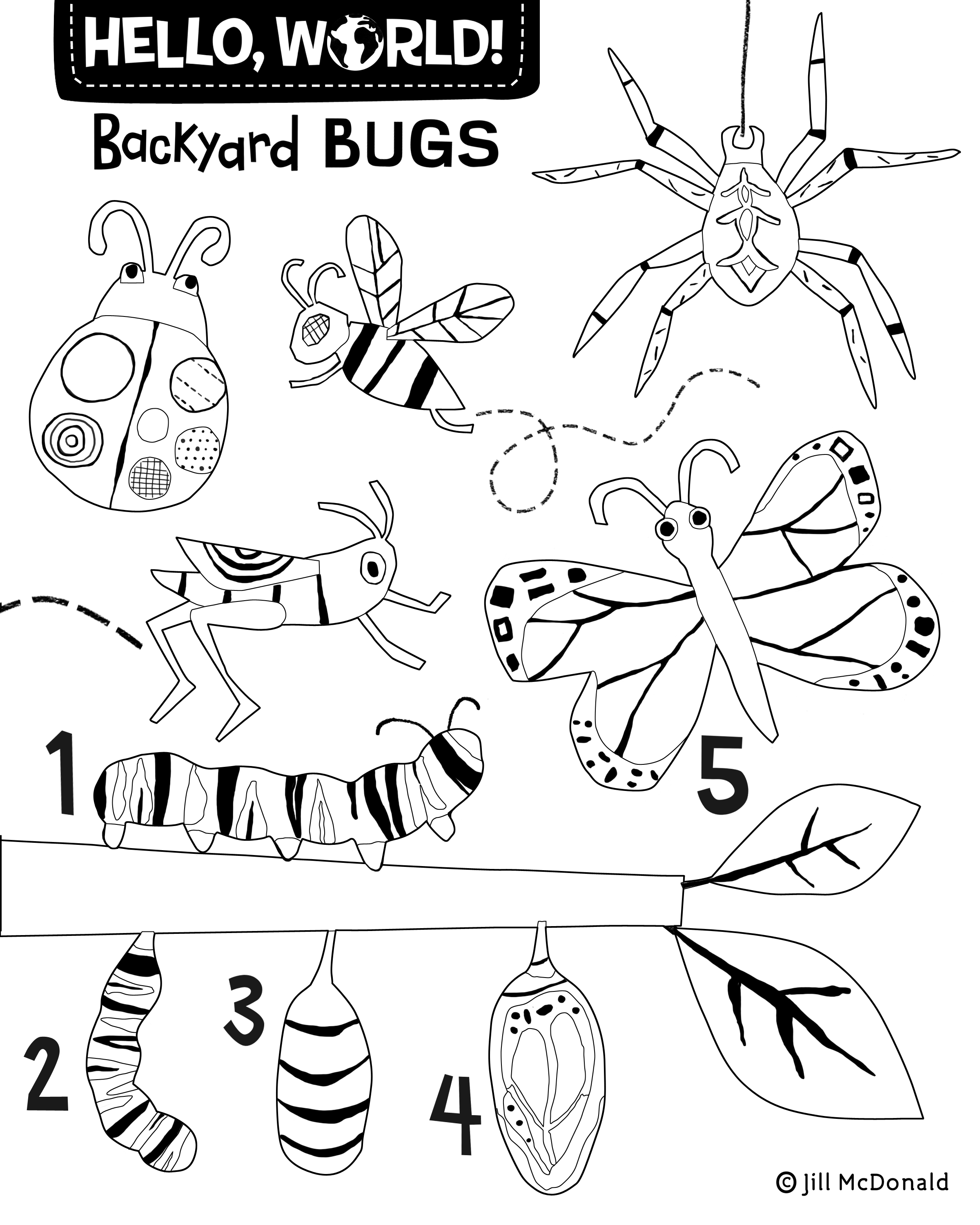 Backyard Bugs Coloring Page