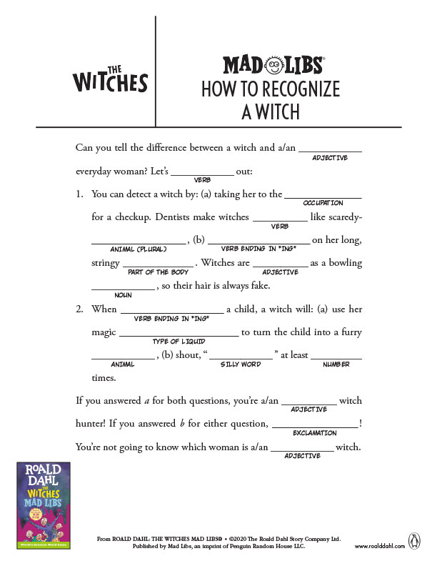 How to Recognize a Witch Mad Libs