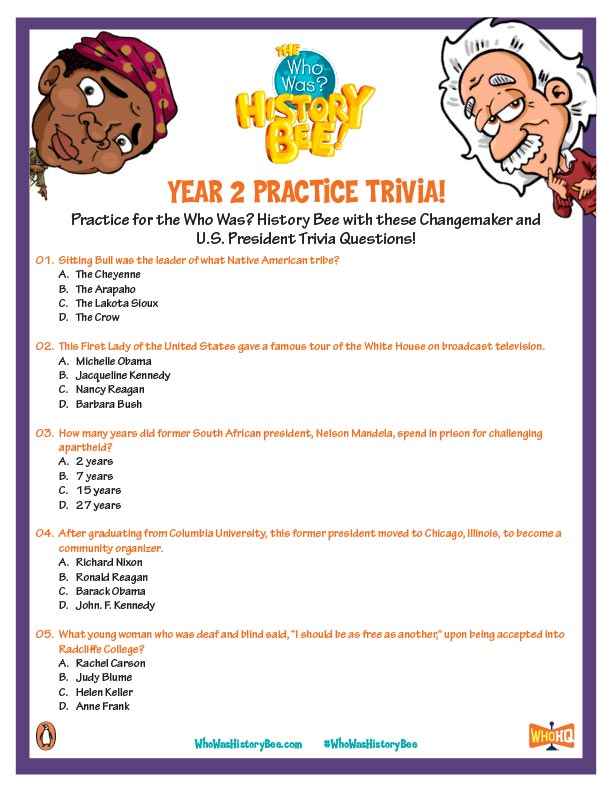 Who Was? History Bee Practice Trivia