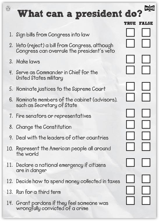 What Can a President Do? Activity Sheet