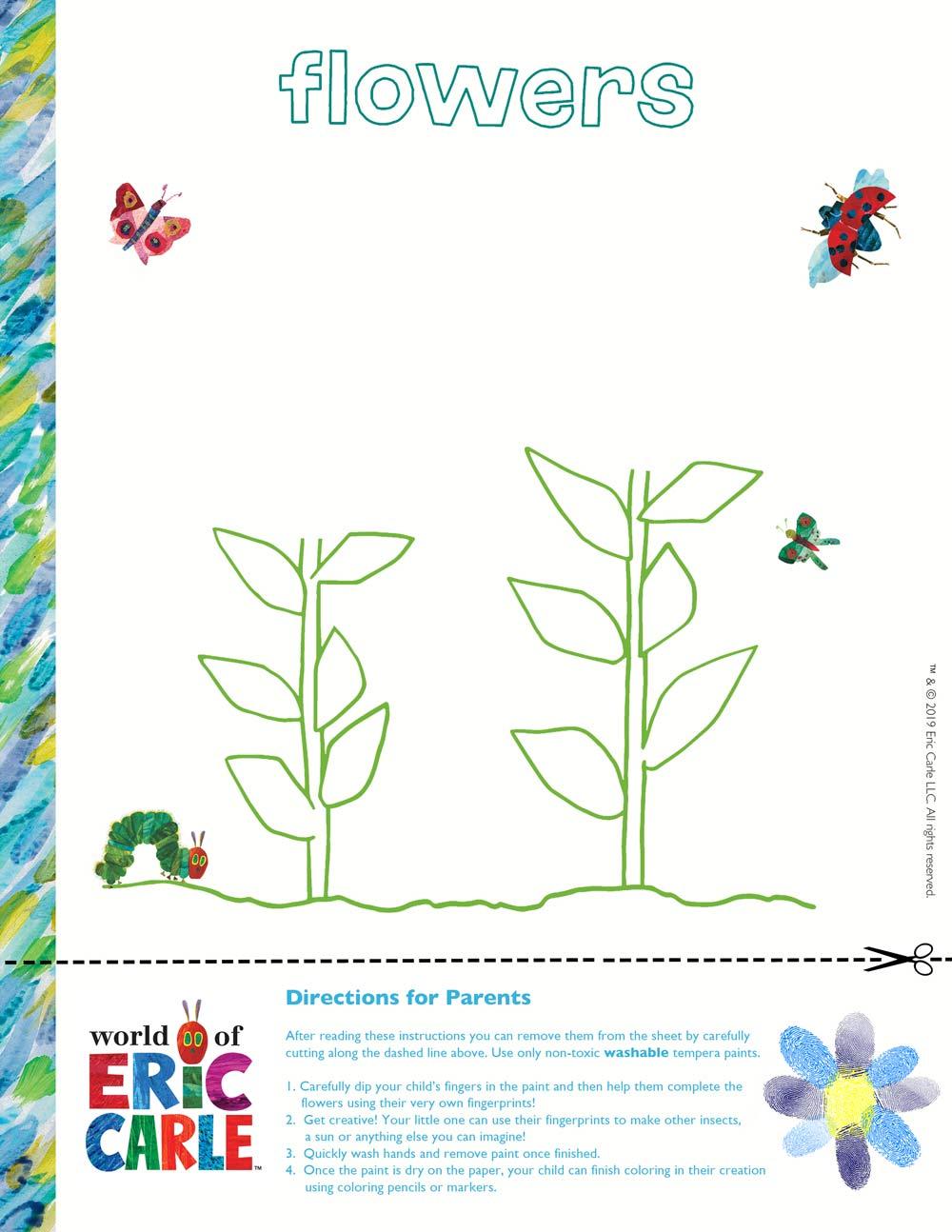 The Very Hungry Caterpillar Spring Fingerprint Activity